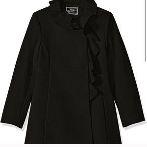 Rothschild Jet Girls Snap-Button Ruffle-Trim Coat